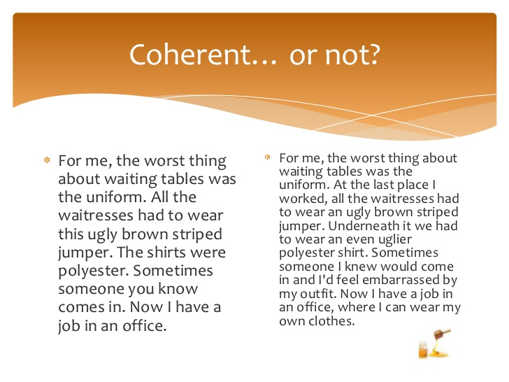 Coherence in writing activity