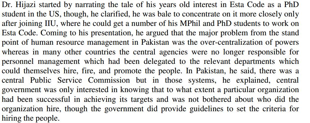 Effectiveness Of The Estacode In Pakistan Governance And Public Policy