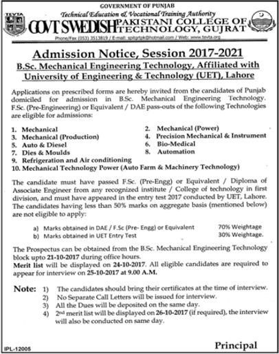 Swedish College Gujrat Admission 2017 Advertisement