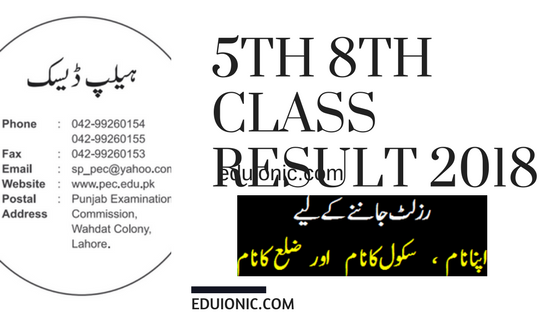 Sheikhupura Board 5th, 8th Class Result 2018